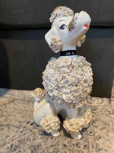 Vintage Spaghetti Poodle Figurine Sitting Large White