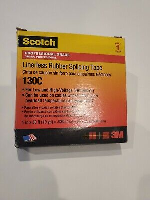 Scotch 3m Linerless Rubber Splicing Tape 130c 1 Width X 30 Foot Length New