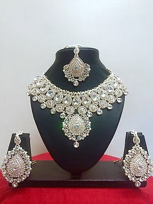 Indian Bollywood Style Rose Gold Plated Fashion Jewelry Necklace Set