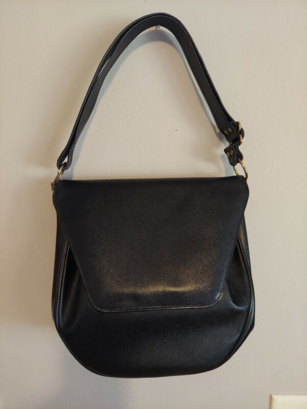 Vintage Handbag by Astrid Black Gold Hardware Classic Saffiano Leather Look