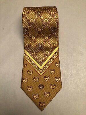 Giannni Versace 90s Vintage Silk Tie Gold Medusa Borocco Print