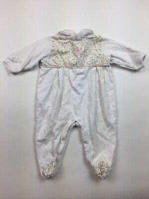 Baby Dior Long Sleeve Pajama One Piece 9 Months Girl's Pink White Floral HH14
