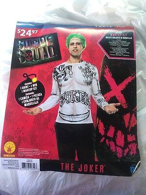 Suicide Squad THE JOKER Halloween Costume Teen Standard , XL Wig, Make up, Shirt - Halloween Boy Makeup
