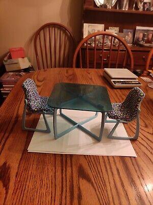Vtg 1977 Mattel Barbie Doll Blue Kitchen Table 2 Chairs Set House Furniture Lot