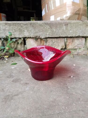 Ruby red glass dish, planter