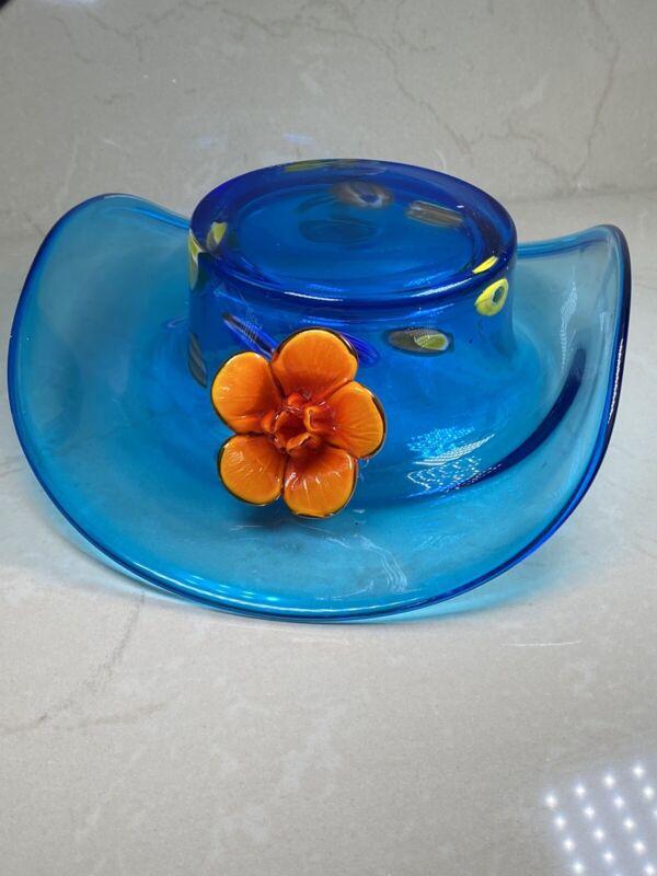 Vintage Glass Top Cowboy With FlowerHat  Candy Bowl Unique Design