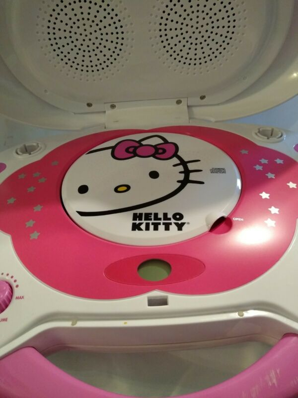 NEW Hello Kitty CD Player & Karaoke System w/ Disco Light & 2 Microphones KT2003