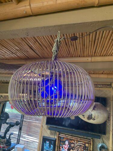 NEW Woven round Lamp with Blue fish float Lamp Light Tiki bar Smokin Tikis