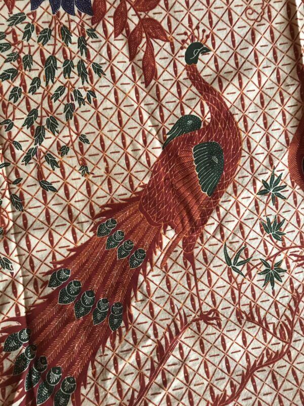 Vintage Bali Batik Cotton Fabric Blue Lotus & Peacock unused 40 X 90 traditional