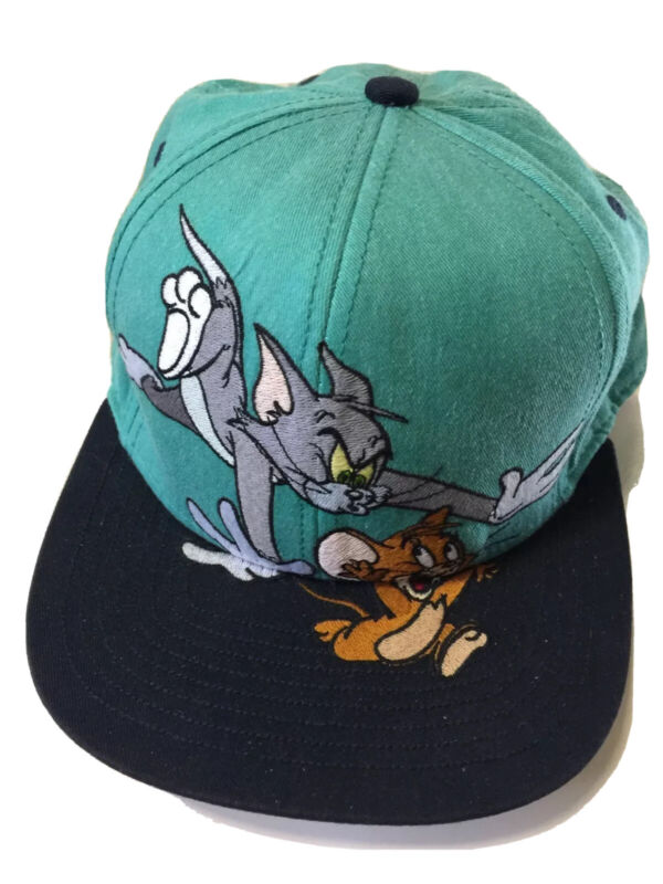 Tom Jerry Looney Tunes One Size Fits Most Cap Hat Embroidered Vtg Vintage 90s