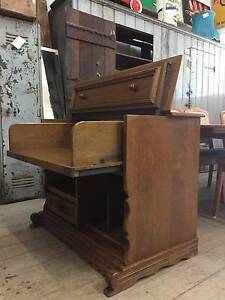 American OAK Fold Out Stereo Record Player Cabinet Desk Drawer Queenstown Port Adelaide Area Preview