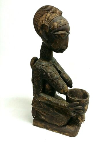 "25"" Yoruba Tribe Nigeria Bowl Bearing Maternity Shrine Figure Statue Carved Wood"