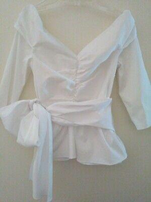 Zara Woman M white poplin off the shoulder ruffle hem draped blouse with bow