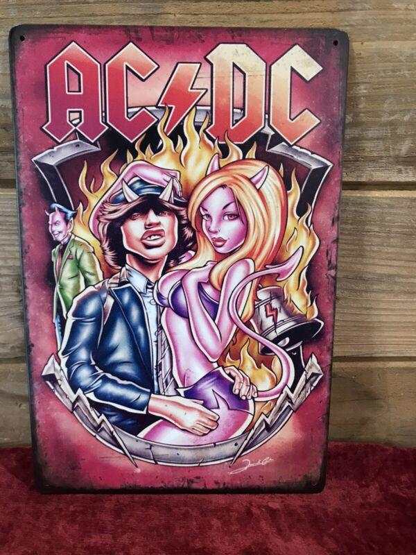 """AC/DC Angus Cartoon Hells Bells Tin Metal sign 8""""X12"""" Man-Cave Décor"""
