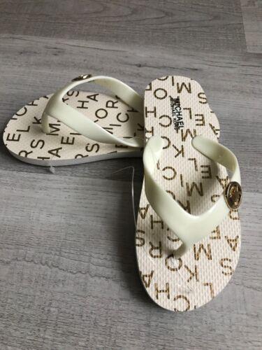 New Girls Michael Kors Cream Gold Flip Flops Size 13
