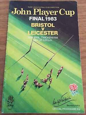 Bristol Vs Leicester John Player Cup Final Rugby Union Programme 30/04/1983