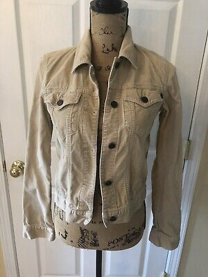 Abercrombie & Fitch Women's Corduroy Jacket Coat Tan Trucker Sz XSmall