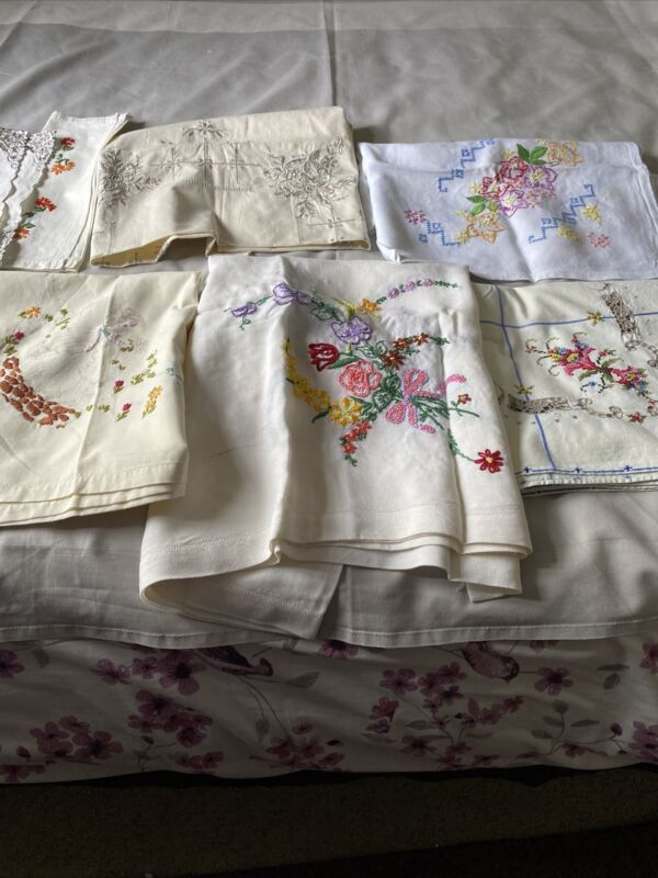 5  vintage Small Embroidered Table Cloths 1 Needs Finishing + 2 Tray Cloths