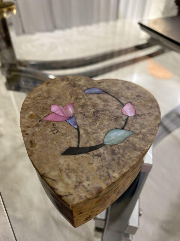Marble Jewelry Box w/Lid Handmade Art Craft Stone Home Decor&Gifts-Heart w/Flow
