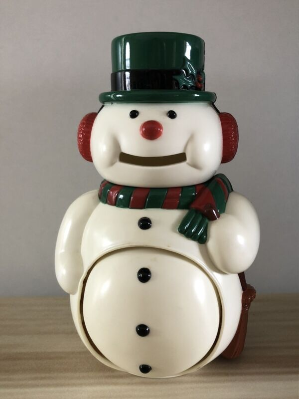 Vintage Used JSNY #3011 Plastic Growing Belly Snowman Bank