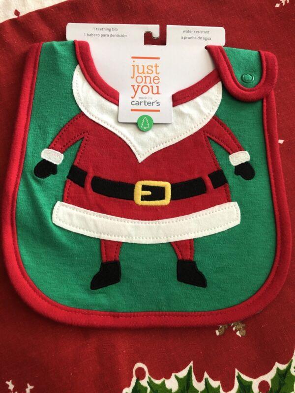 NEW NWT Carters Baby Boy Girl Newborn Santa Christmas Bib