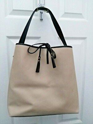 ASIA BELLUCCI ITALY Beige & Black Saffiano Leather w/ lock & key - Tote Handbag