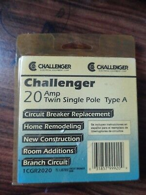 Challenger 20 Amp Twin Single Pole Circuit Breaker Type A - 1cgr2020