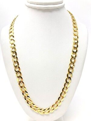 Men's 14k Yellow Gold Solid Curb Cuban Link Chain Necklace 2