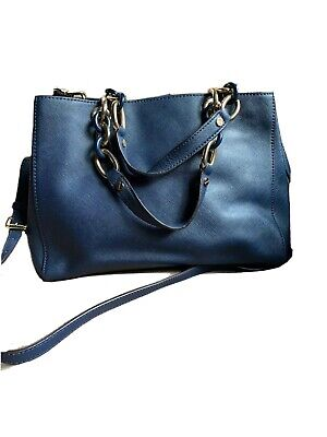 Michael Kors Cynthia Steel Blue Saffiano Leather Medium Crossbody Bag