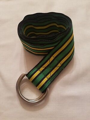 J CREW NAVY YELLOW GREEN STRIPE SILVER D-RING BELT SIZE LARGE / EXTRA LARGE