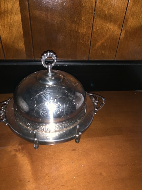 Ornate JAMES W TUFT ANTIQUE SILVER PLATED DOMED BUTTER/CANDY DISH~1940