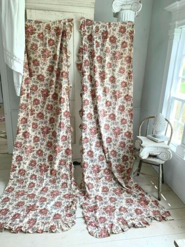 Pair of Vintage Curtains Faded floral French Cotton Roses pink blue green 1900