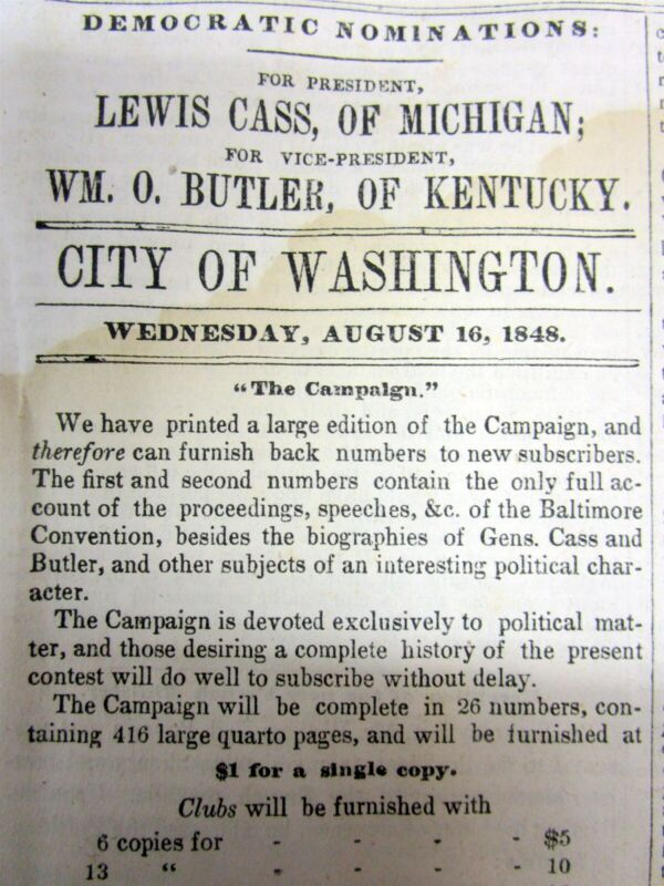 1848 Presidential campaign newspaper w ad supporting LEWIS CASS for US President