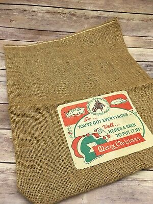 Vintage Burlap Christmas Santa Sack X-Mas Merry Christmas 16