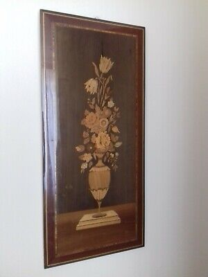vintage mid century large inlaid marquetry wood picture