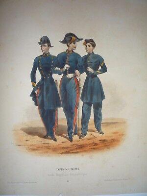 """F-H. LALAISSE. """" TYPES MILITAIRES, ECOLE IMPERIALE POLYTECHNIQUE.""""  RARE. 1855."""