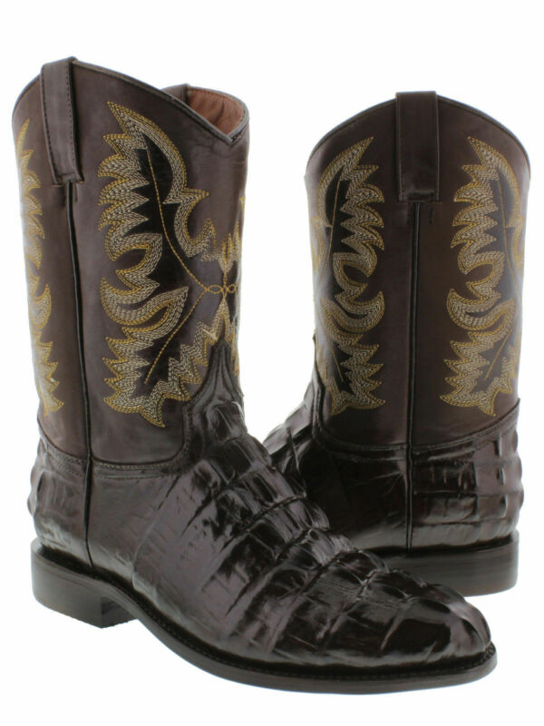 Mens, Brown, Alligator, Tail, Western, Wear, Cowboy, Boots, Rodeo, Leather, Roper, Toe