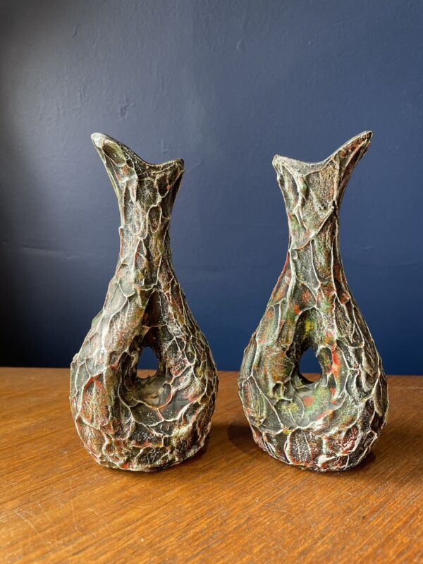 Vintage Retro Italian Ceramic Pair Of scraffito vases Studio Pottery