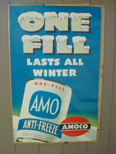 Vtg Paper Poster for AMOCO Service Stations Advertising AMO Anti-Freeze~ca 50s