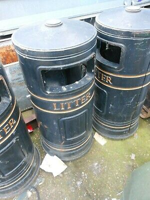 Large Cast Iron  Litter Bin ornate collation Erith