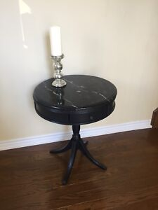Beautiful antique drum table with marble top