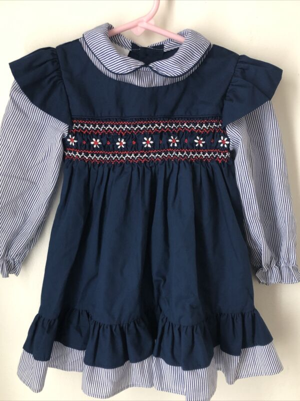 Polly Flinders Navy Smocked Prairie Vintage  Dress Size 3T Striped Sleeves