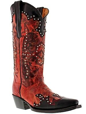 Womens Red Studded Cowgirl Leather Western Boots Distressed Snip (Boot Womens Western Boots)