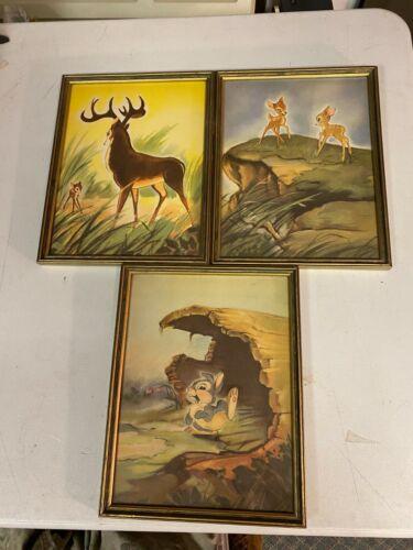 Lot of 3 Vintage Ferdinand Roten Galleries Walt Disney Framed Prints Bambi More