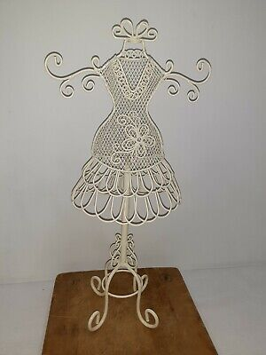 Table Top White Mini Wire Metal Dress Form Mannequin Decorative Holder Display