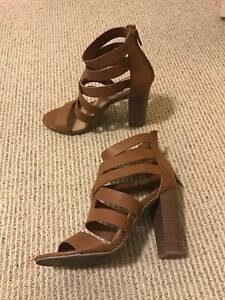 MOVING SALE: Brown Strappy Block Heels Size 7.5