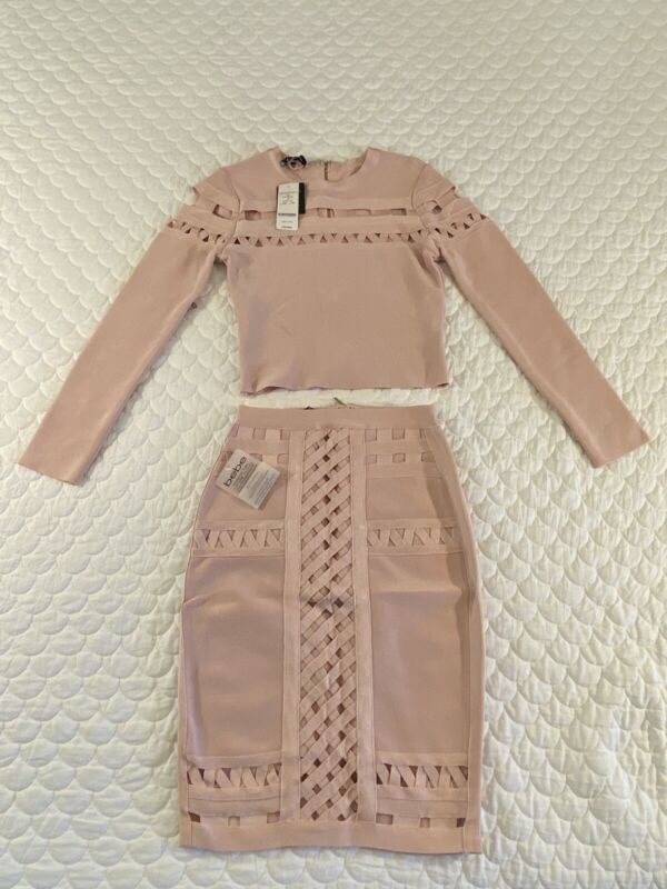 Bebe bandage pink skirt Small and top X-Small co-ord set