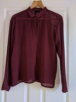 Ichi Size 10 Burgundy Chiffon Long Sleeve Shirt