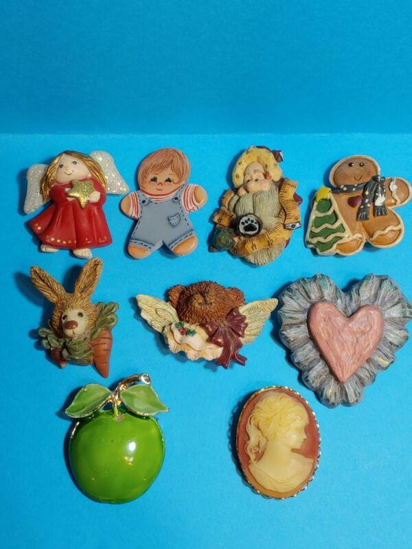 Retro Pin Brooch 9 Piece Lot Angel Bunny Bear Cameo & More Resin Wood Metal
