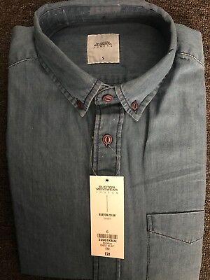 Burton Menswear London BNWT Long Sleeve Denim Blue Shirt. (SMALL)